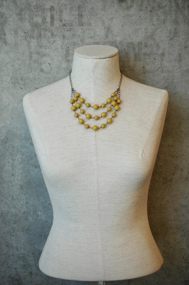 3 Layer Mustard Gem Statement Necklace harlow jewelry handmade jewelry