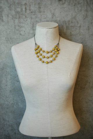 3 Layer Mustard Gem Statement Necklace - HBN04