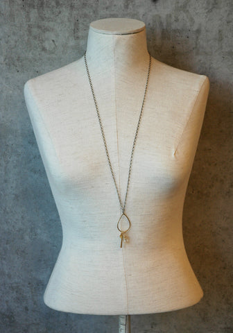 Gold Drop With Bar Cluster Necklace - JHN42