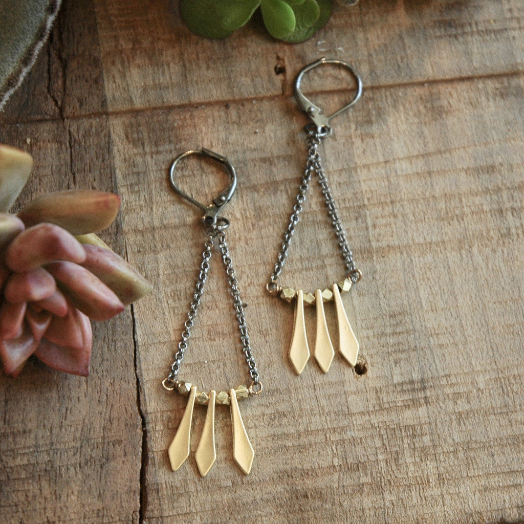 Gold wands with brass beads on antiqued leverbacks harlow jewelry handmade earrings
