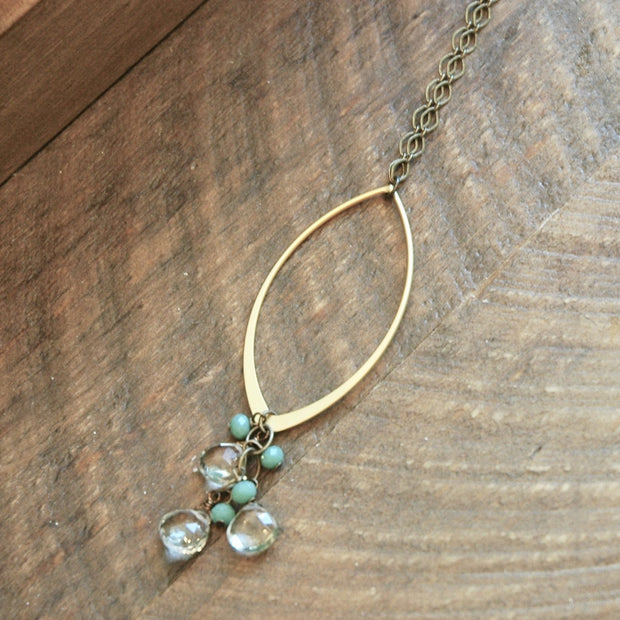 Gold Marquise & Green Amethyst Cascade Necklace  harlow jewelry handmade jewelry