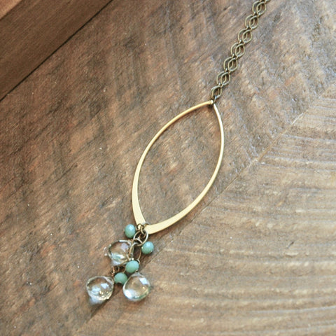 Gold Marquise & Green Amethyst Cascade Necklace - JHN38