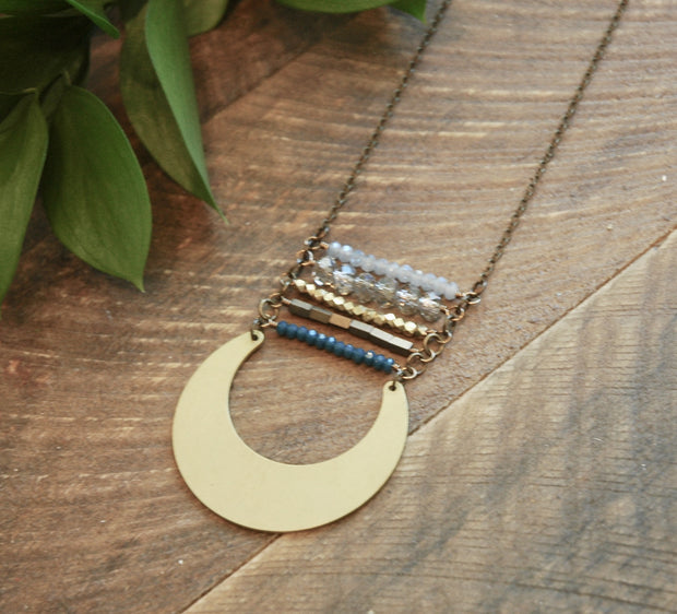 India Blue Stack Necklace With Brass Crescent harlow jewelry handmade jewelry long