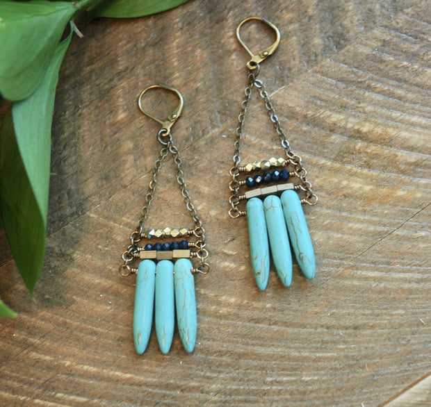 Turquoise Spike Stack Earrings harlow jewelry handmade earrings