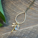 Gold Drop With Bar Cluster Necklace quartz harlow jewelry handmade jewelry