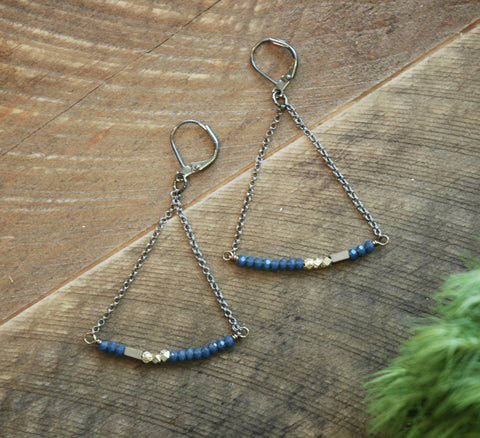 India Blue Crystal With Brass Accent Earrings - NHE23