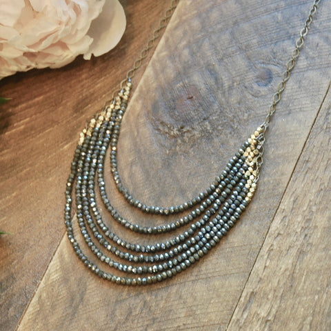 6 Layer Midnight Juniper Crystal And Brass Statement Necklace - NHN60