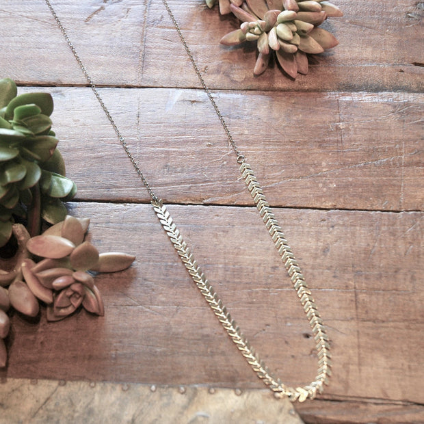 Long Delicate Fishbone Chain Necklace harlow jewelry handmade jewelry