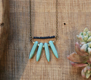 Turquoise Spike and Deep Blue Necklace harlow jewelry handmade jewelry