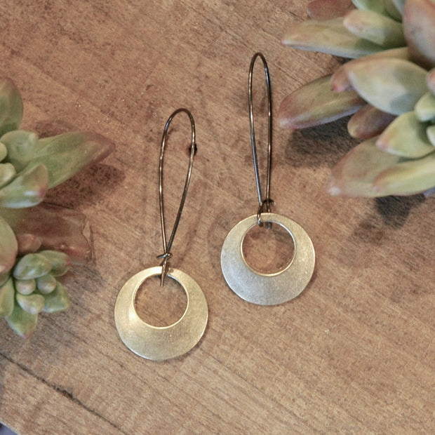Brushed brass round pendants on antiqued brass earwires harlow jewelry handmade earrings