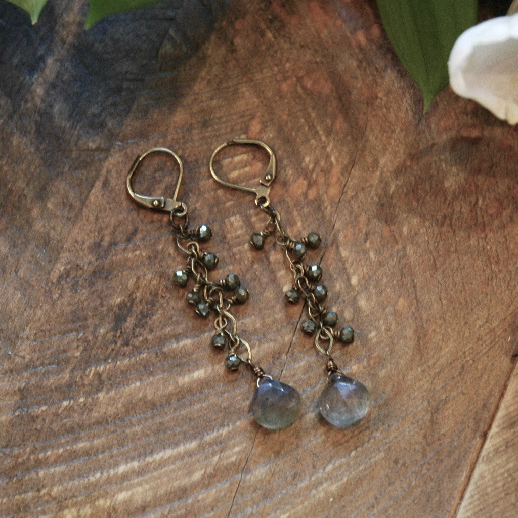 Labradorite With Crystal Cascade Earrings