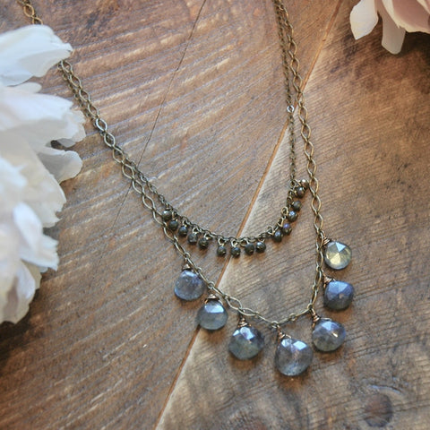 7 Labradorite Drops And Tiny Crystal Necklace - NHN07