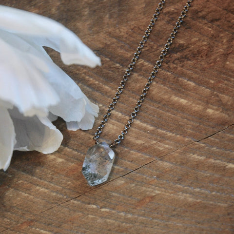 Hexagon Lotalite Gemstone Necklace