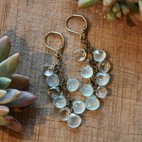 Green Amethyst & Mint Chalcedony Cascade Earrings - JHE32