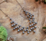 Spanish Gray Crystal Statement Necklace harlow jewelry handmade jewelry