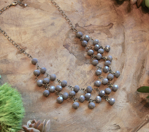 Spanish Gray Crystal Statement Necklace - HKN13