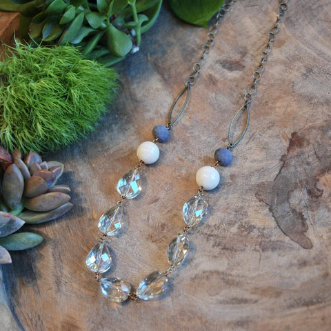 Champagne Crystal with Spanish Gray & Cream Accents Necklace