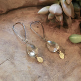 Champagne Crystal Drops with Gold Leaves Earrings harlow jewelry handmade earrings