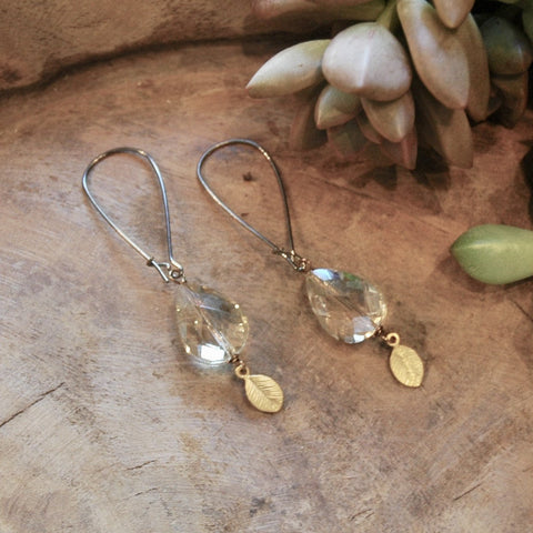Champagne Crystal Drops with Gold Leaves Earrings - JHE19