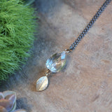 Champagne Crystal Drop & Gold Leaf Necklace harlow jewelry handmade jewelry