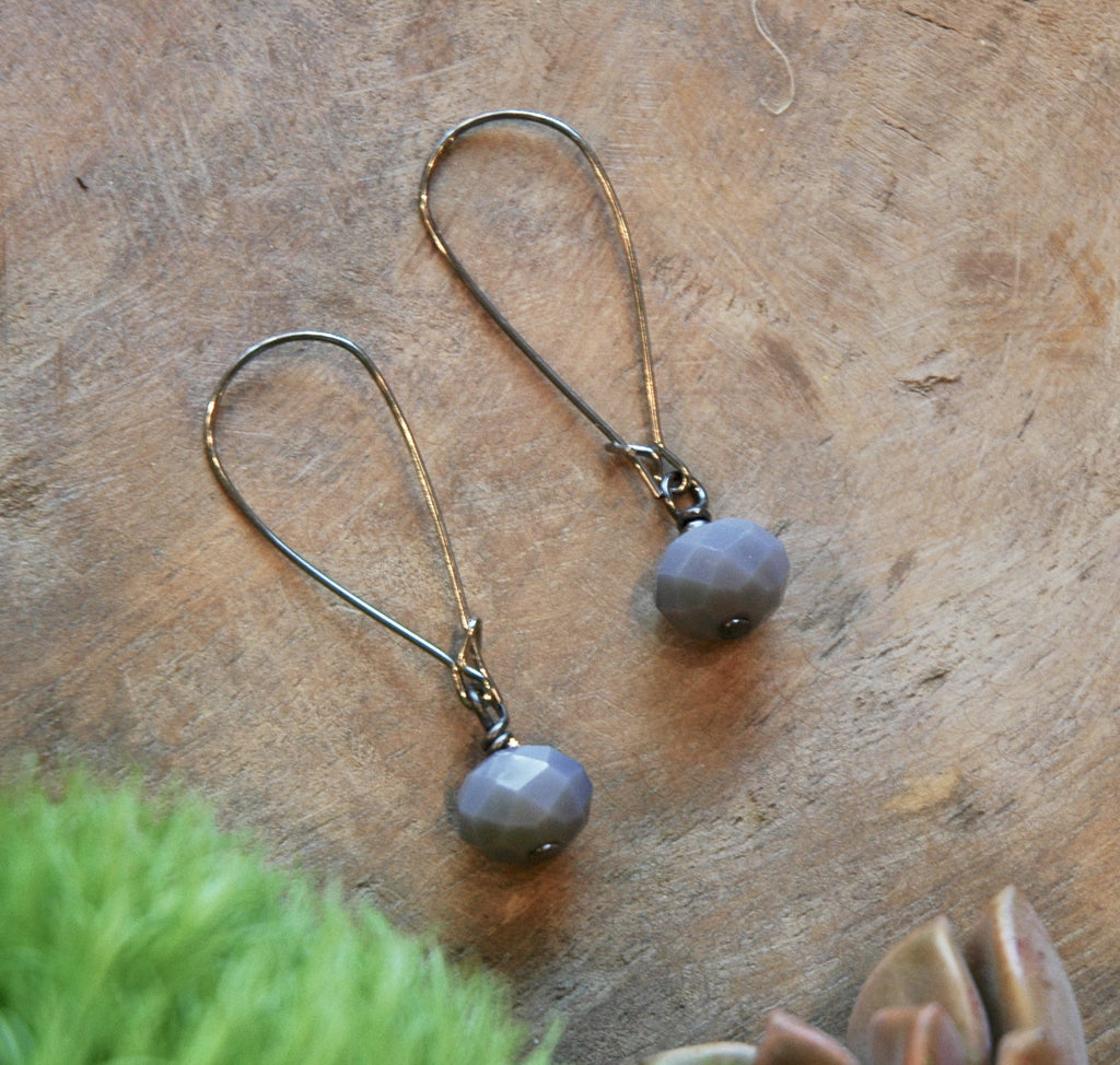 Single spanish gray crystal earrings, hypoallergenic French earwires harlow jewelry handmade earrings