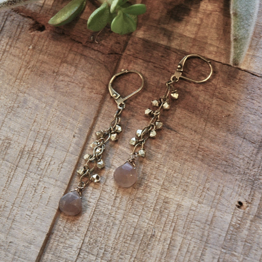 Blush Moonstone & Brass Hexagon Earrings harlow jewelry handmade earrings