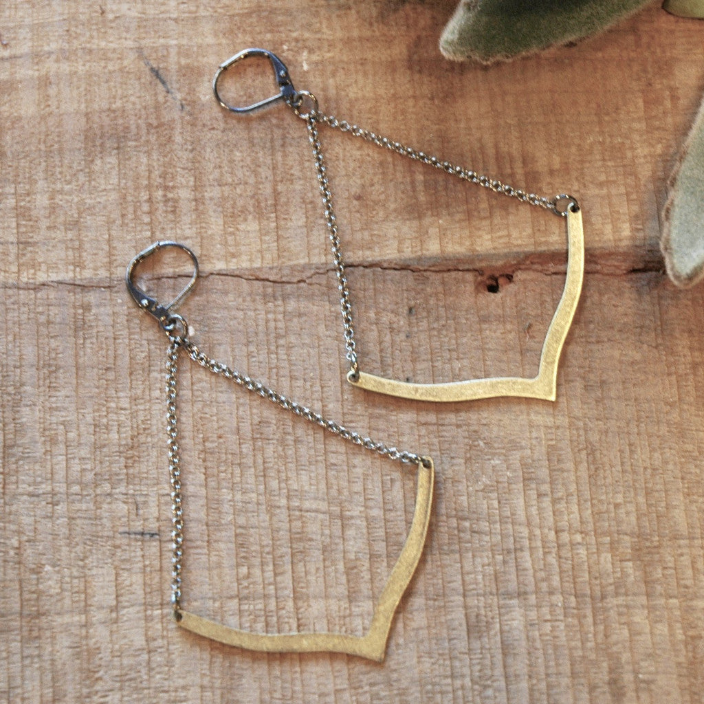 brass chevron earrings harlow jewelry handmade earrings