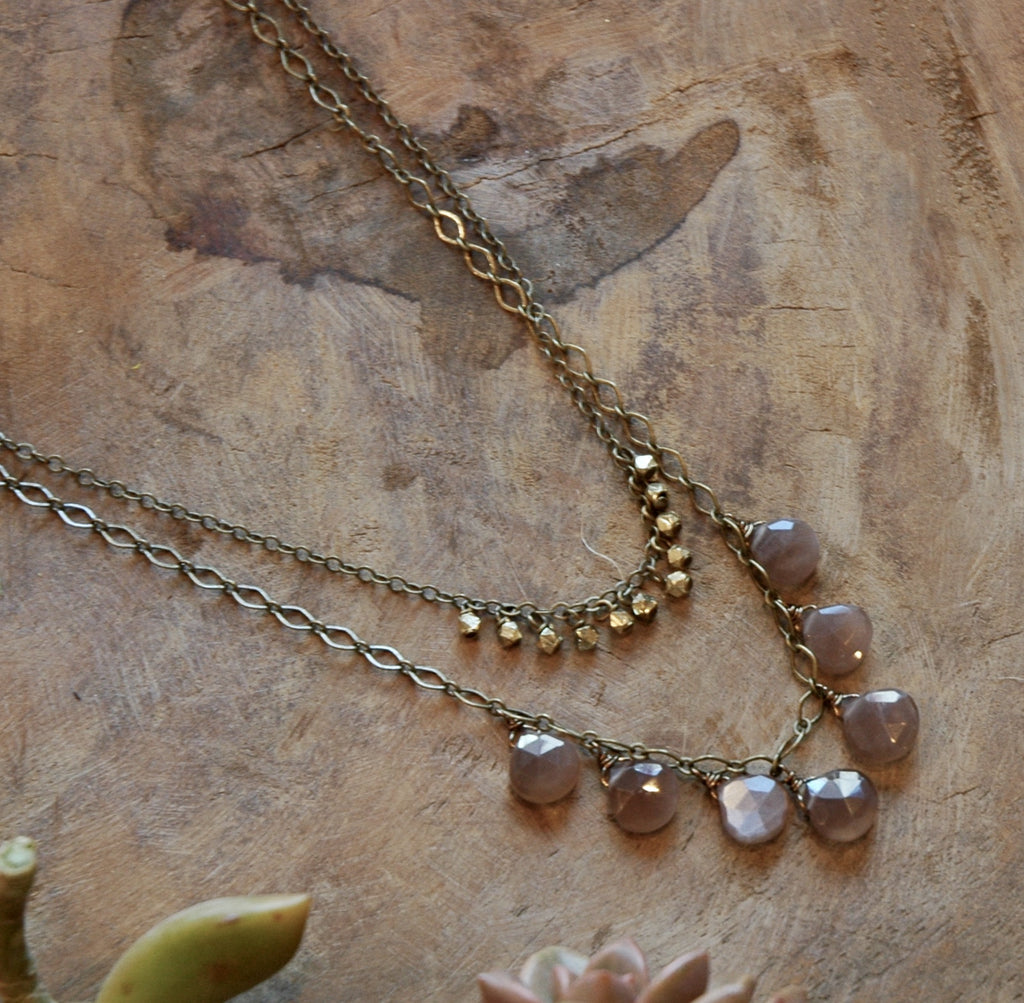 7 Blush Moonstone & Brass Necklace harlow jewelry handmade jewlery