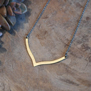Single Brass Chevron Necklace harlow jewelry handmade jewelry