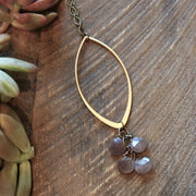 gold marquise with blush moonstone long necklace harlow jewelry