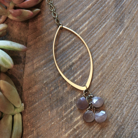 Gold Marquise With Blush Moonstone Cascade Necklace