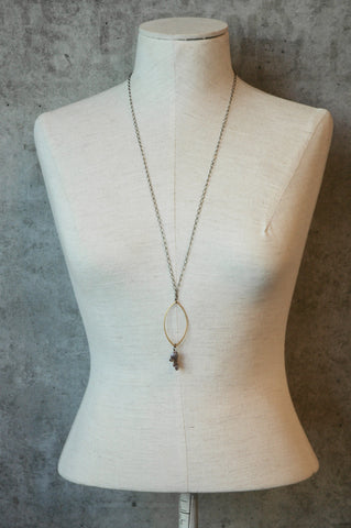 Gold Marquise With Blush Moonstone Cascade Necklace - JHN22