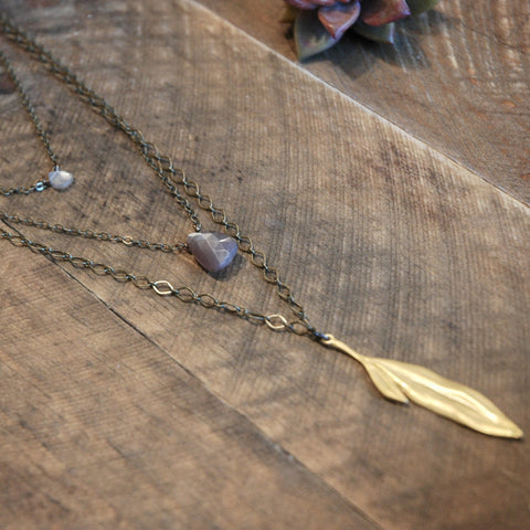 5 Layer Long Leaf, Blush Moonstone & Brass Necklace - JHN23