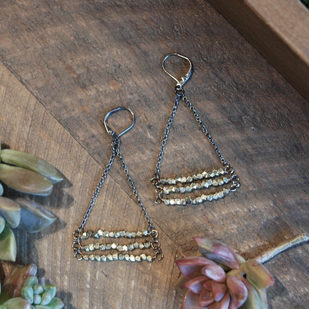 Brass hexagon stacked earrings, hypoallergenic leverbacks harlow jewelry handmade earrings