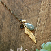 Long Leaf With Crysocolla Gemstone Necklace