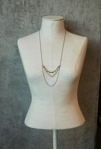 Gold Chevron Necklace With Brass Hexagons - NHN52