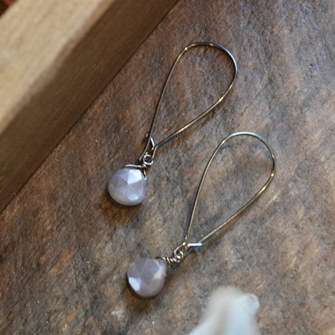 Single Blush Moonstone Earrings - JHE26
