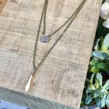 2 Layer Gold Wand & Blush Moonstone Necklace harlow jewelry handmade jewlery'