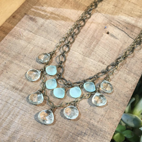 2 Layer Green Amethyst & Mint Chalcedony Necklace - JHN41
