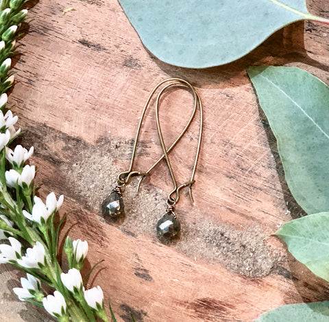 Single Pyrite Drop Earrings - JHE67