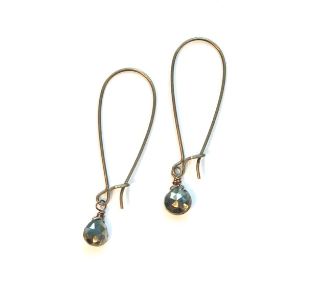 Single pyrite gemstone drops on antiqued earwires