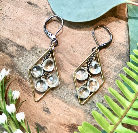 Gold Diamond & Green Amethyst Earrings - JHE78