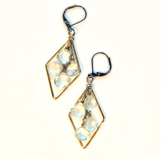 handmade Long gold diamond pendants with green amethyst cascades on antiqued leverbacks