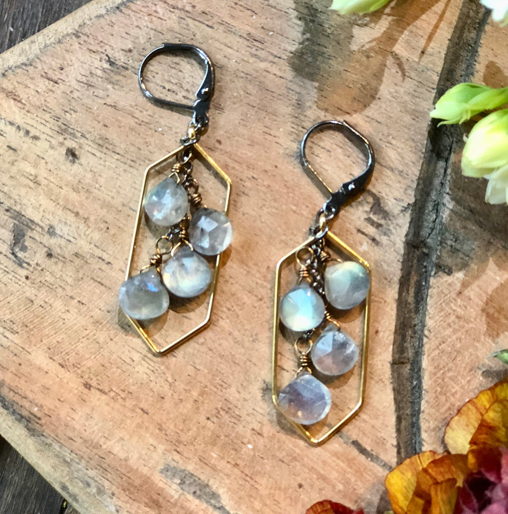 Long hexagon pendants with labradorite cascades on antiqued leverbacks