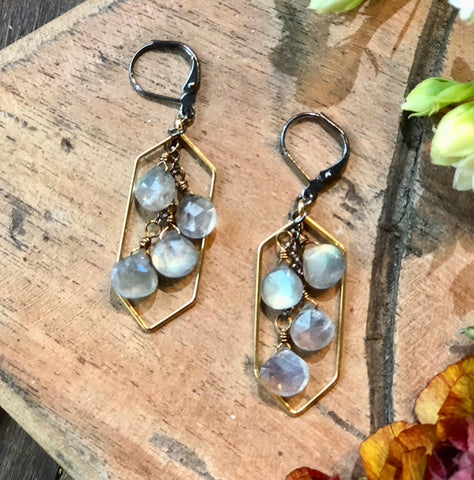 Long Hexagon & Labradorite Earrings - JHE76