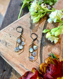 handmade Long hexagon pendants with labradorite cascades on antiqued leverbacks