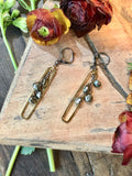handmade Long gold rectangle pendants with pyrite cascades on antiqued leverbacks