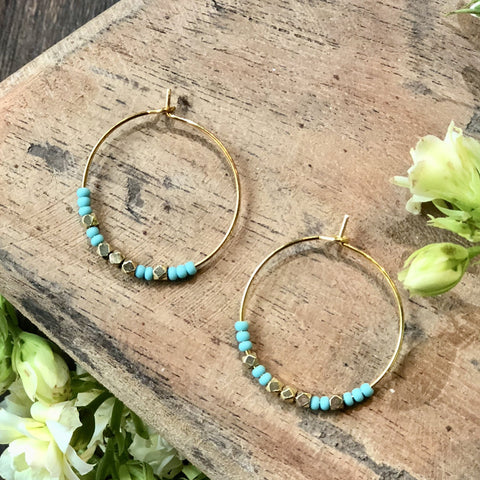 Turquoise With Brass Gold Ring Earrings - JHE73