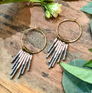 handmade Peach and gray beaded tassel earrings on gold plated earwires