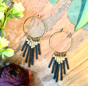 handmade Matt black and brass beaded tassel earrings on gold plated earwires